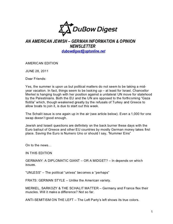 AN AMERICAN JEWISH – GERMAN INFORMATION & OPINION                    NEWSLETTER                        dubowdigest@optonli...