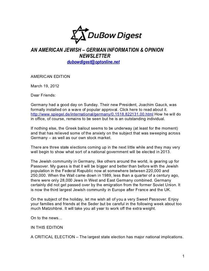 AN AMERICAN JEWISH – GERMAN INFORMATION & OPINION                 NEWSLETTER                    dubowdigest@optonline.netA...