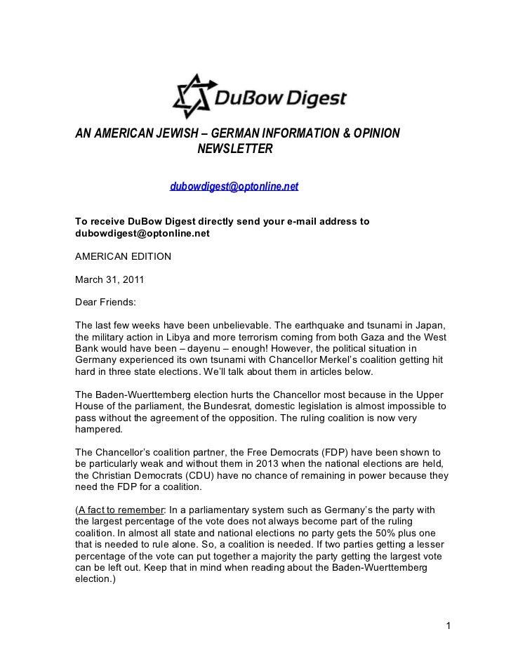 AN AMERICAN JEWISH – GERMAN INFORMATION & OPINION                  NEWSLETTER                      dubowdigest@optonline.n...