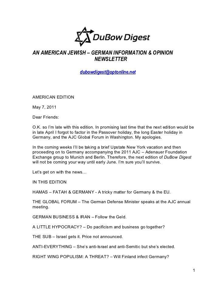 AN AMERICAN JEWISH – GERMAN INFORMATION & OPINION                      NEWSLETTER                          dubowdigest@opt...