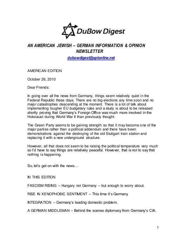 1 AN AMERICAN JEWISH – GERMAN INFORMATION & OPINION NEWSLETTER dubowdigest@optonline.net AMERICAN EDITION October 26, 2010...