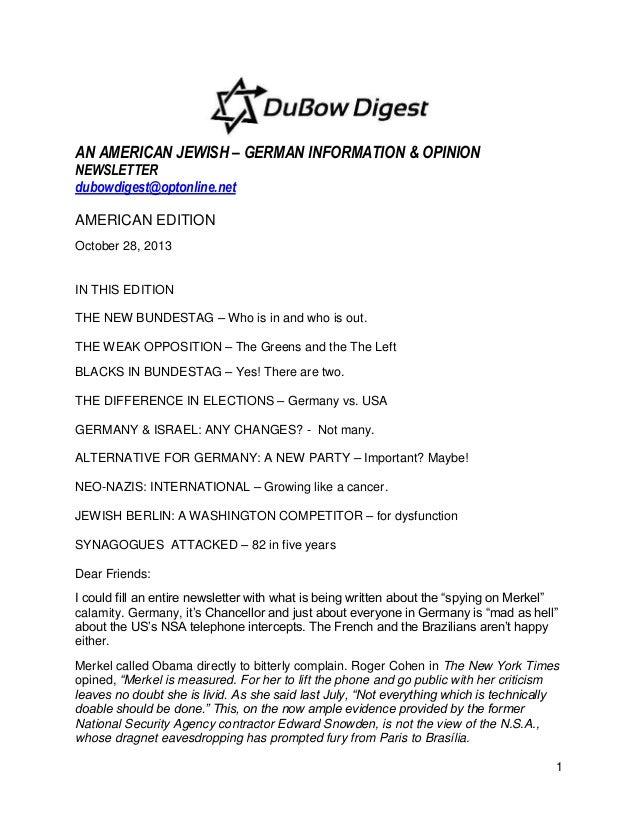 AN AMERICAN JEWISH – GERMAN INFORMATION & OPINION NEWSLETTER dubowdigest@optonline.net AMERICAN EDITION October 28, 2013  ...