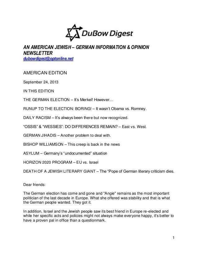 1 AN AMERICAN JEWISH – GERMAN INFORMATION & OPINION NEWSLETTER dubowdigest@optonline.net AMERICAN EDITION September 24, 20...