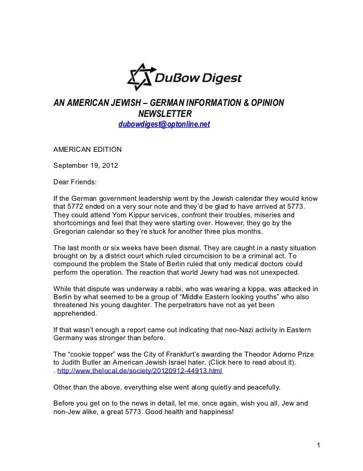AN AMERICAN JEWISH – GERMAN INFORMATION & OPINION                  NEWSLETTER                     dubowdigest@optonline.ne...