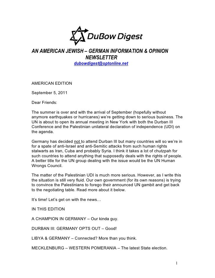 AN AMERICAN JEWISH – GERMAN INFORMATION & OPINION                   NEWSLETTER                        dubowdigest@optonlin...