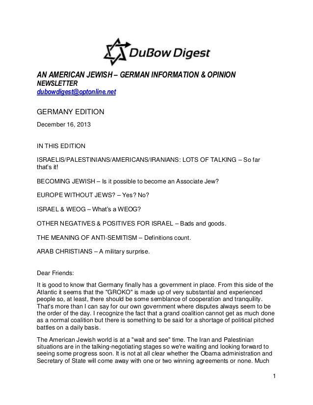 AN AMERICAN JEWISH – GERMAN INFORMATION & OPINION NEWSLETTER dubowdigest@optonline.net GERMANY EDITION December 16, 2013  ...
