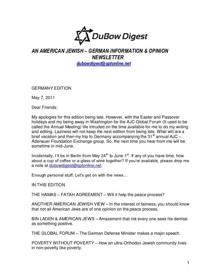 AN AMERICAN JEWISH – GERMAN INFORMATION & OPINION                      NEWSLETTER                        dubowdigest@opton...