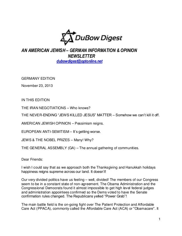 AN AMERICAN JEWISH – GERMAN INFORMATION & OPINION NEWSLETTER dubowdigest@optonline.net  GERMANY EDITION November 23, 2013 ...