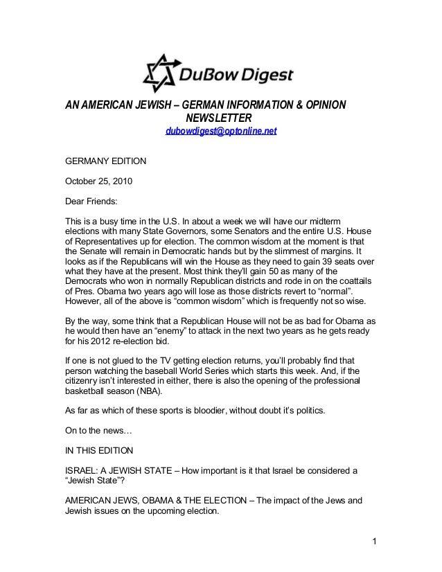 AN AMERICAN JEWISH – GERMAN INFORMATION & OPINION NEWSLETTER dubowdigest@optonline.net GERMANY EDITION October 25, 2010 De...