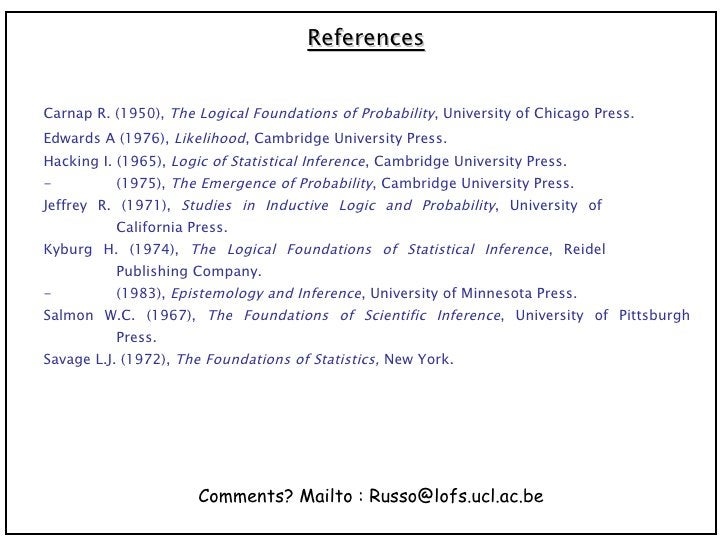 References Carnap R. (1950),  The Logical Foundations of Probability , University of Chicago Press. Edwards A (1976),  Lik...