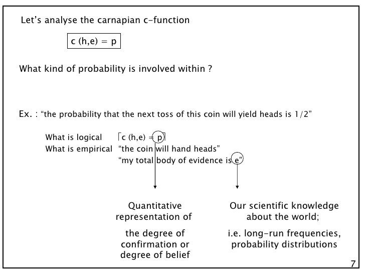"""7 Let's analyse the carnapian c-function c (h,e) = p What kind of probability is involved within ? Ex. :  """"the probability..."""