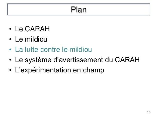 • Le CARAH • Le mildiou • La lutte contre le mildiou • Le système d'avertissement du CARAH • L'expérimentation en champ 16...