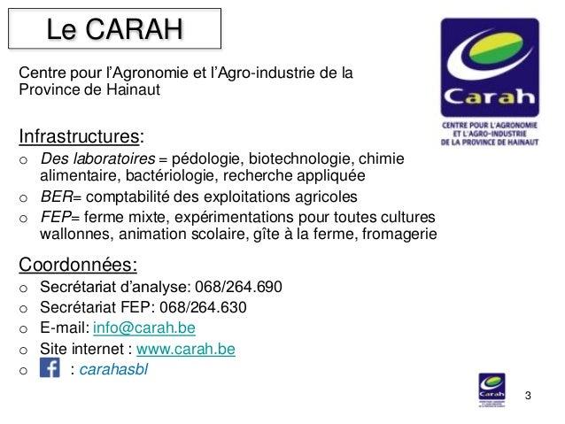 Centre pour l'Agronomie et l'Agro-industrie de la Province de Hainaut Le CARAH 3 Infrastructures: o Des laboratoires = péd...