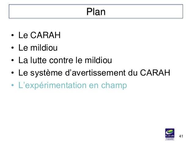 • Le CARAH • Le mildiou • La lutte contre le mildiou • Le système d'avertissement du CARAH • L'expérimentation en champ 41...