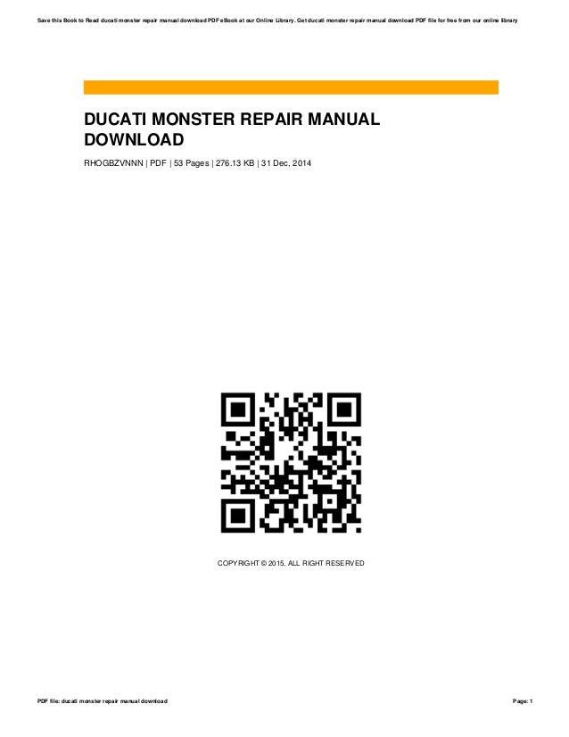 Ducati monster repair manual download