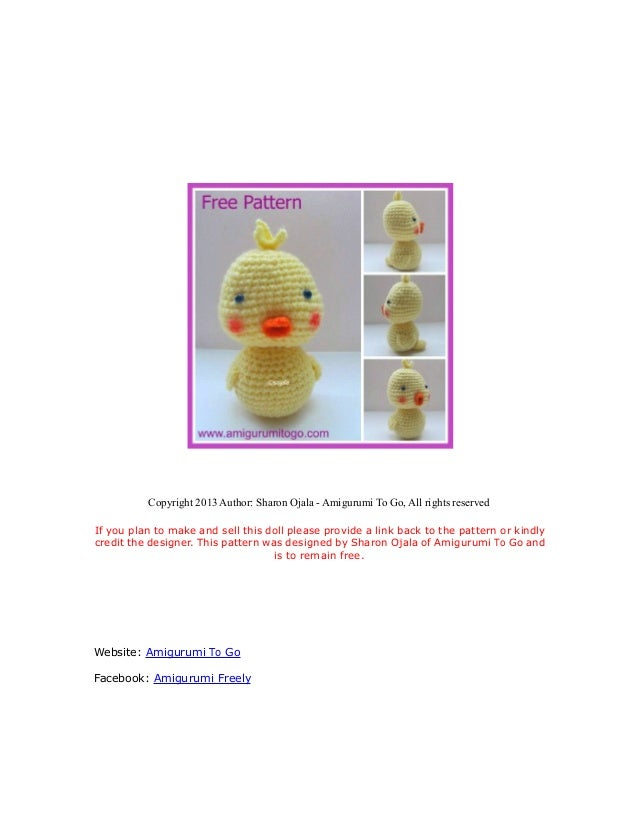 Copyright 2013 Author: Sharon Ojala - Amigurumi To Go, All rights reservedIf you plan to make and sell this doll please pr...
