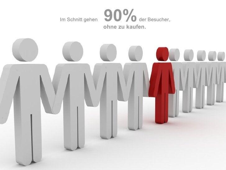 Im Schnitt gehen   90%   der Besucher,   ohne zu kaufen.