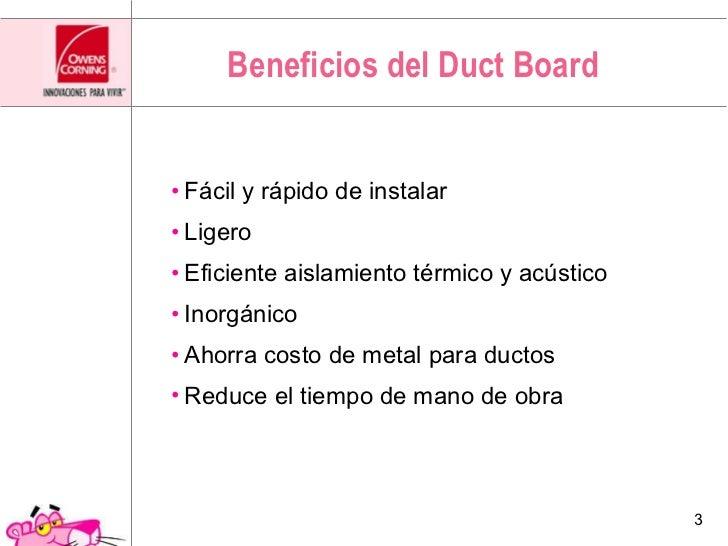 Aislamiento para aire acondicionado ¨Duct Board¨ Slide 3