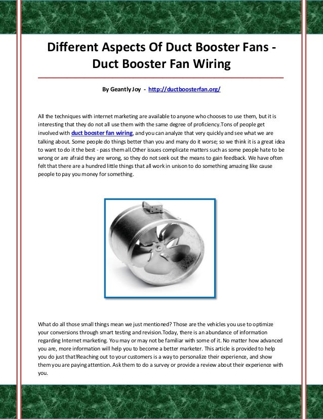 duct booster fan wiring. Black Bedroom Furniture Sets. Home Design Ideas