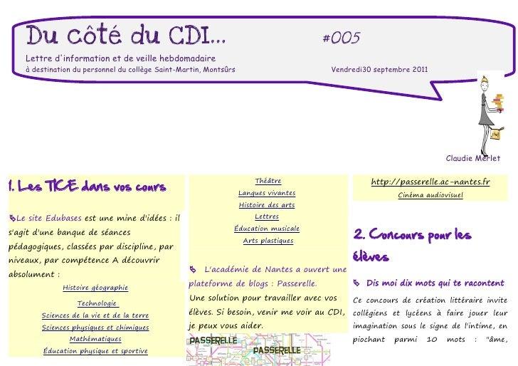 Du côté du CDI...                                                                  #005    Lettre dinformation et de veill...