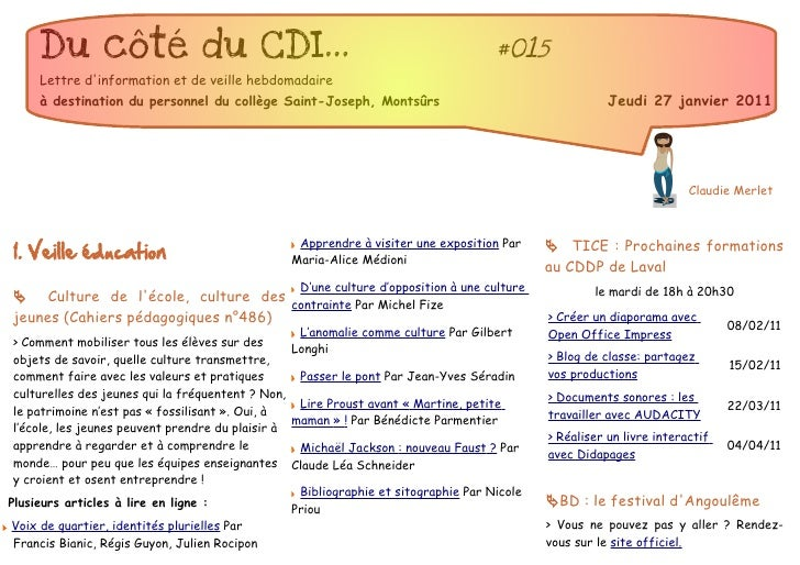 Du côté du CDI...                                                               #015     Lettre dinformation et de veille ...
