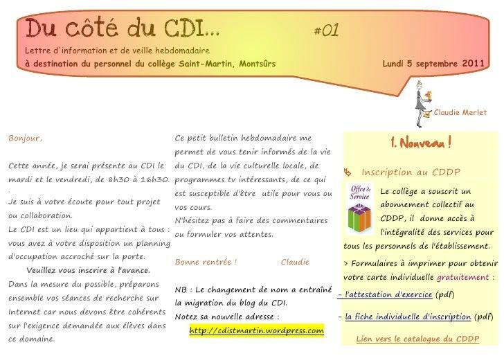 Du côté du CDI...                                                                #01    Lettre dinformation et de veille h...