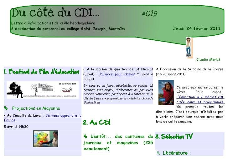 Du côté du CDI...                                                                       #018    Lettre dinformation et de ...