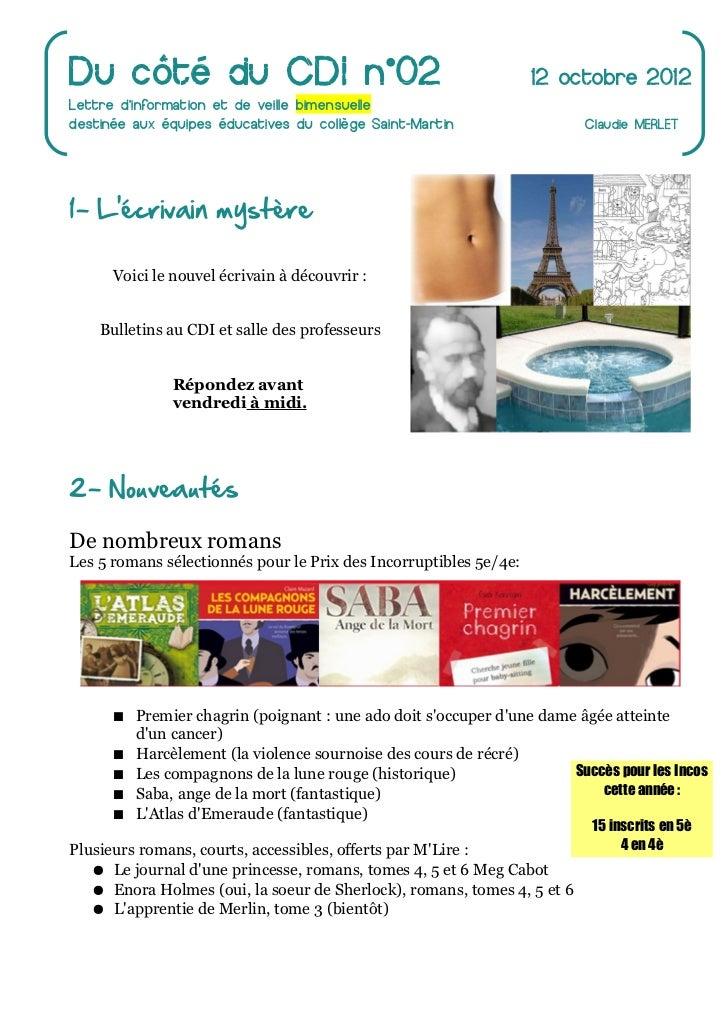 Du côté du CDI n°02                                                12 octobre 2012Lettre dinformation et de veille bimensu...