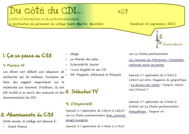 Du côté du CDI...                                                             #03    Lettre dinformation et de veille hebd...