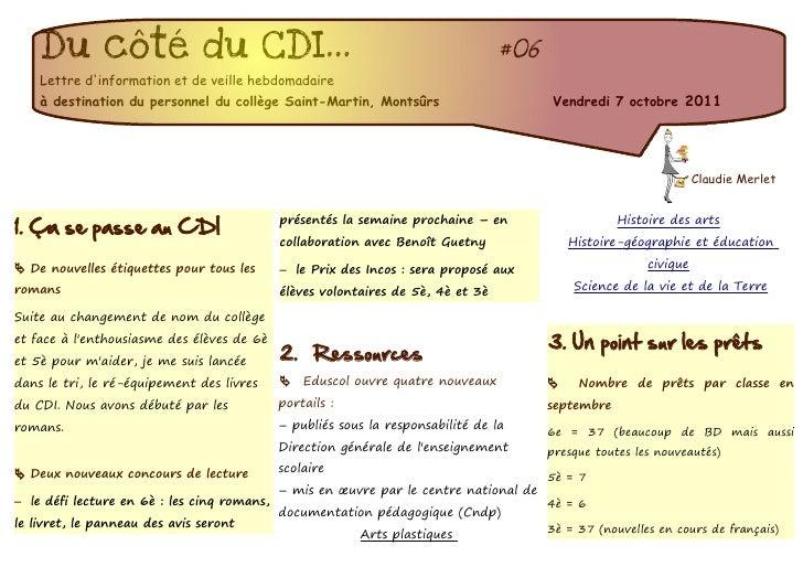 Du côté du CDI...                                                             #06    Lettre dinformation et de veille hebd...