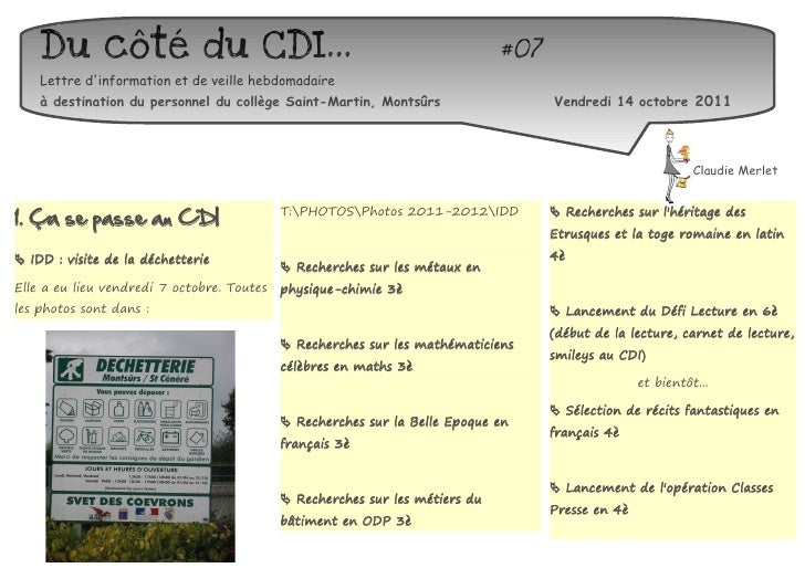 Du côté du CDI...                                                         #07    Lettre dinformation et de veille hebdomad...