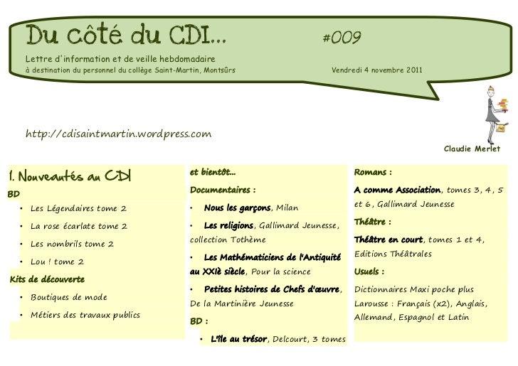 Du côté du CDI...                                                                   #009         Lettre dinformation et de...