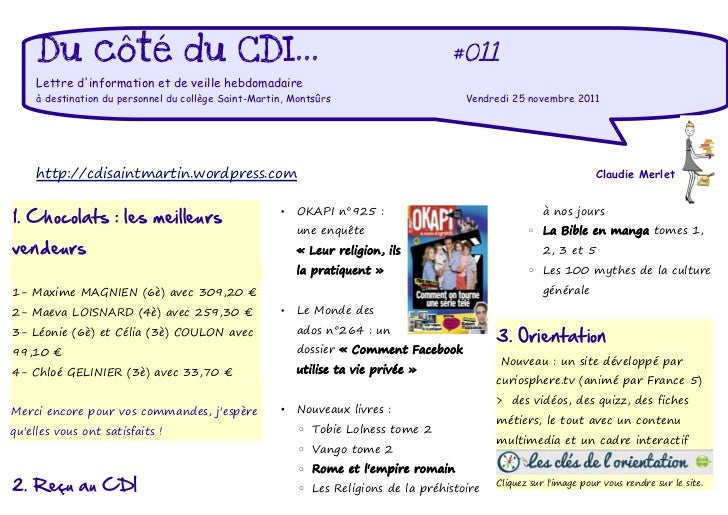 Du côté du CDI...                                                               #011     Lettre dinformation et de veille ...