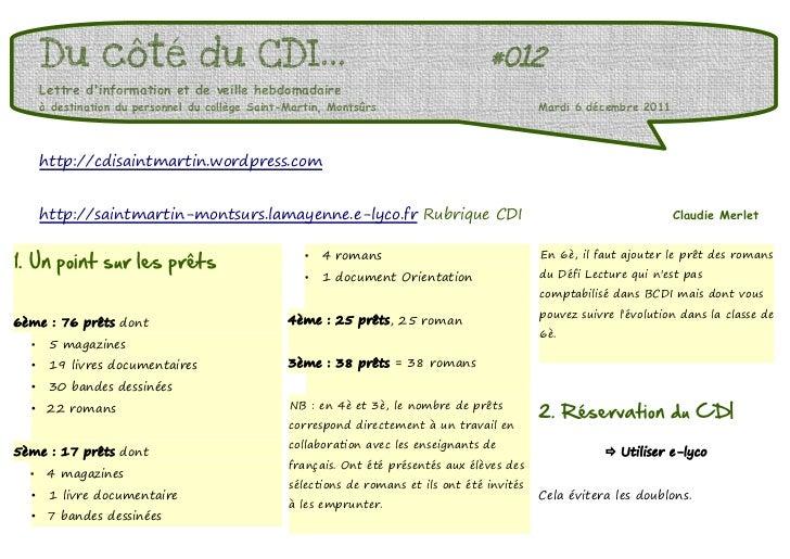 Du côté du CDI...                                                               #012      Lettre dinformation et de veille...
