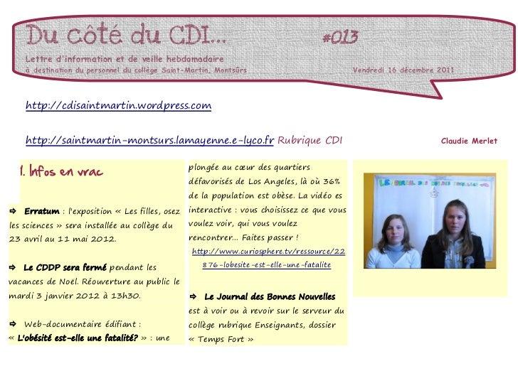 Du côté du CDI...                                                              #013     Lettre dinformation et de veille h...