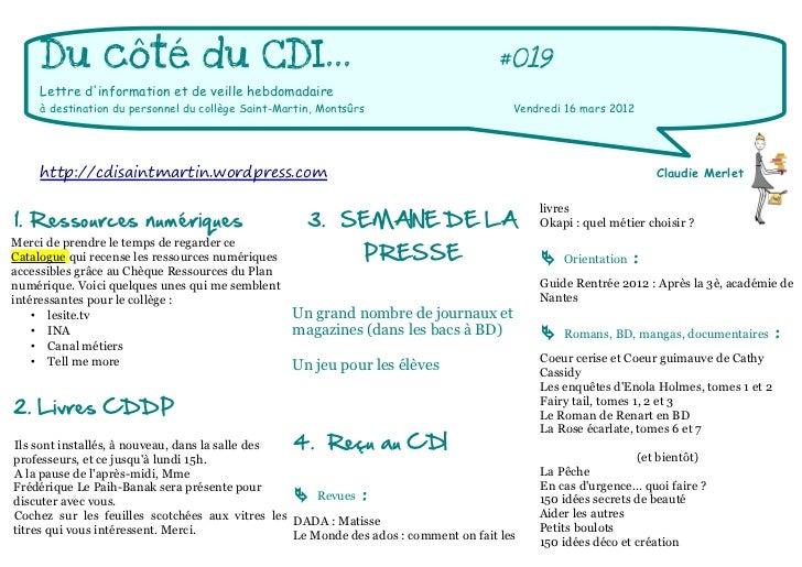 Du côté du CDI...                                                               #019    Lettre dinformation et de veille h...