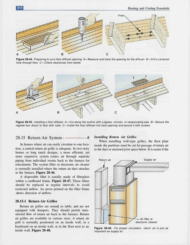 Heating and Cooling Essentials     Figure 28-44. Preparing to cut a floor diffuser opening. A—Measure and trace the openin...