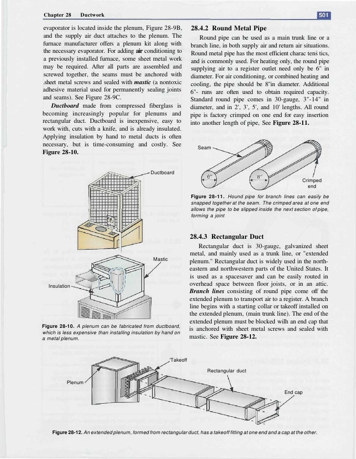 Chapter 28      Ductwork  evaporator is located inside the plenum, Figure 28-9B,               28.4.2 Round Metal Pipe and...