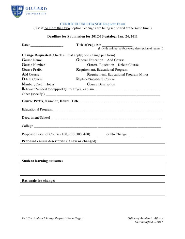 Curriculum Change Request Form Revised 12 11