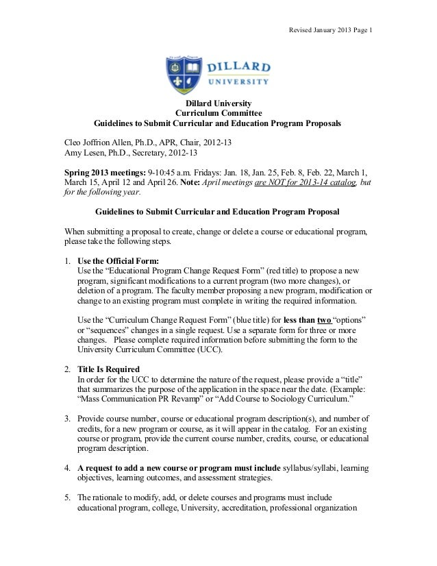 Revised January 2013 Page 1                               Dillard University                             Curriculum Commit...