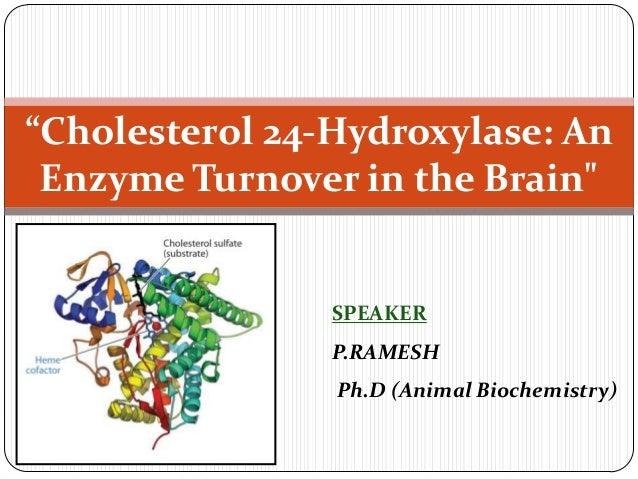 """Cholesterol 24-Hydroxylase: An Enzyme Turnover in the Brain""  SPEAKER P.RAMESH Ph.D (Animal Biochemistry)"