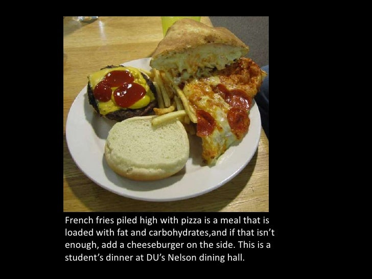 French fries piled high with pizza is a meal that is loaded with fat and carbohydrates,and if that isn't enough, add a che...