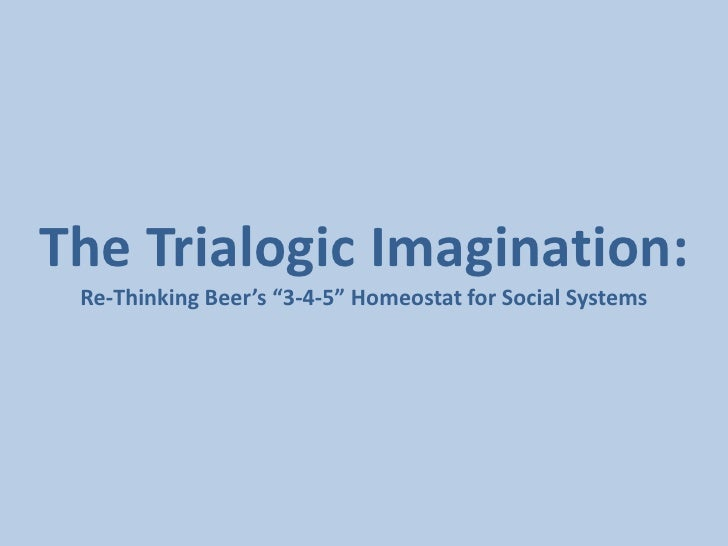 """The Trialogic Imagination:<br />Re-Thinking Beer's """"3-4-5"""" Homeostat for Social Systems<br />"""