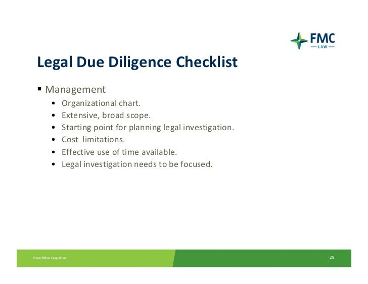 legal due diligence check list essay