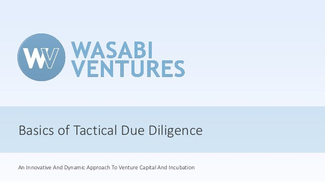 Basics of Tactical Due Diligence An Innovative And Dynamic Approach To Venture Capital And Incubation