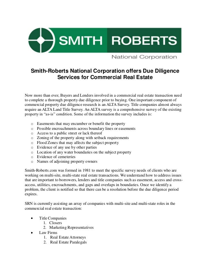 Smith-Roberts National Corporation offers Due Diligence            Services for Commercial Real EstateNow more than ever, ...