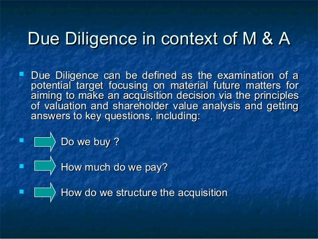 Due diligence in_merger_and_acquisition Slide 2
