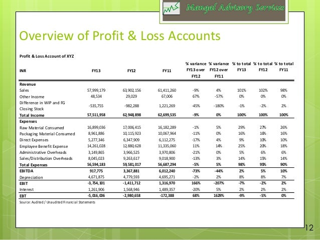 Sample Due diligence report – Profit and Loss Report Sample