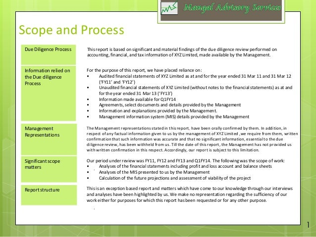 operational due diligence report example