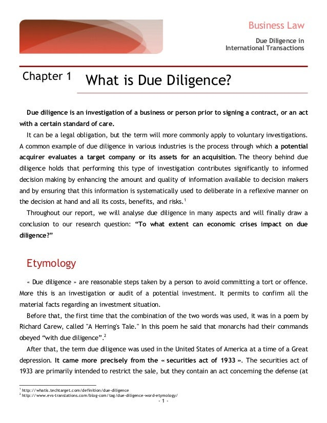 Due diligence report 20150414